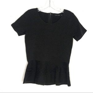 Ivanka Trump Charcoal Jacquard Knit Peplum Top M